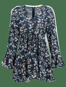 Floral Drawstring M Azul Vestido Con Volantes SwdSaR