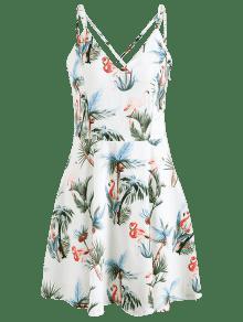 Con Estampado S Vestido Cami Blanco De Flamencos Onx0xTw
