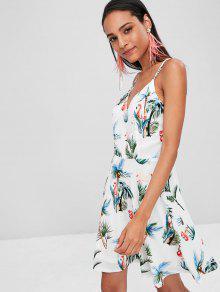 Blanco Estampado Con De Flamencos S Cami Vestido qyxFwRP1Xy