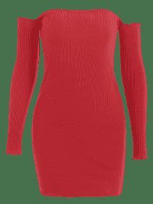 Punto Hombro Vestido Acanalado Rojo S Con Costuras Del De Fuera FxXvZXEq