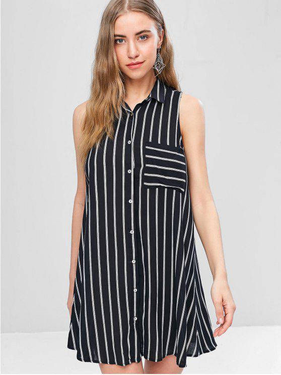 Mini vestido sin mangas a rayas - Negro M