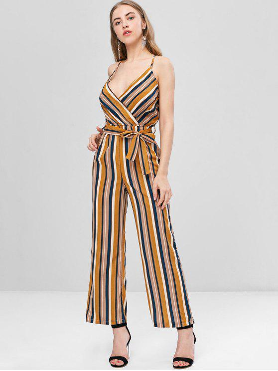 Crossover Gestreifter Cami Wide Leg Jumpsuit - Multi XL