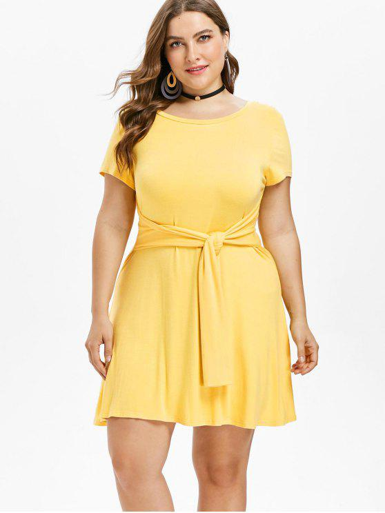 fancy Plus Size Knot Front A Line Dress - BRIGHT YELLOW L
