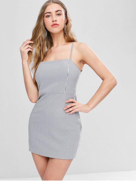 Voltar Zipper Stripes Cami Dress - Preto L