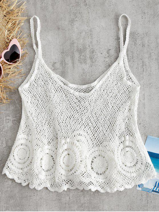 Haut Camisole Festonné et en Crochet - Blanc Taille Unique