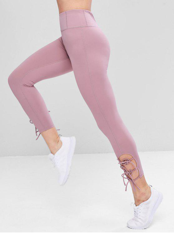 women's Flat Seams Side Tie Tight Yoga Leggings - MAUVE M