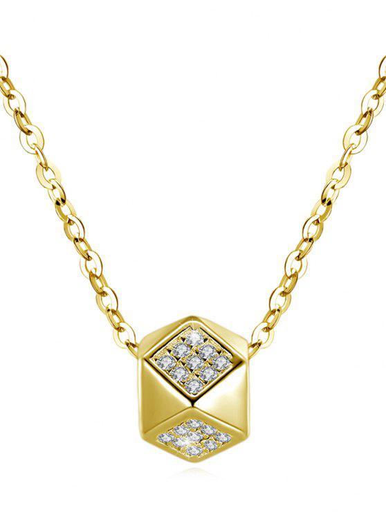 Colar de pingente de strass brilhante Rhombus - Ouro
