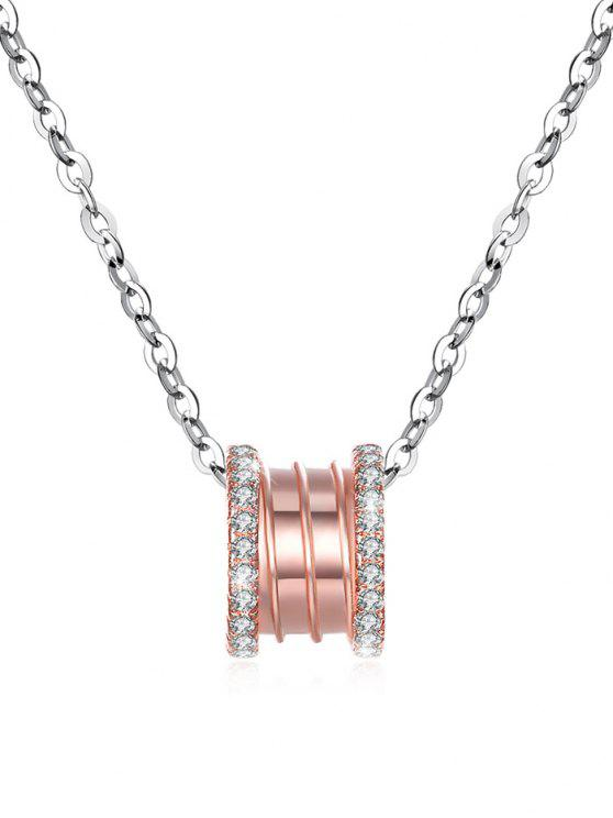 new Rhinestone Inlaid Rose Gold Silver Pendant Necklace - ROSE GOLD