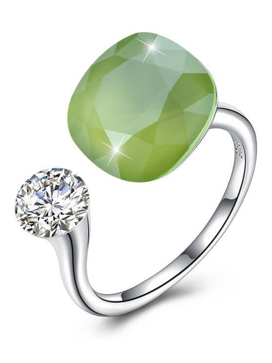 Anello Per Anniversario E Nozza Con Diamante Artificiale Scintillante - Verde Giallo