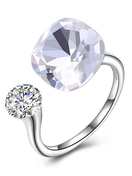 sale Vintage Crystal Rhinestone Silver Cuff Ring - WHITE