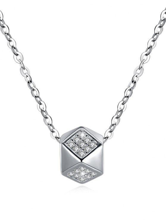 Brillante Rhinestone Rhombus colgante collar - Plata