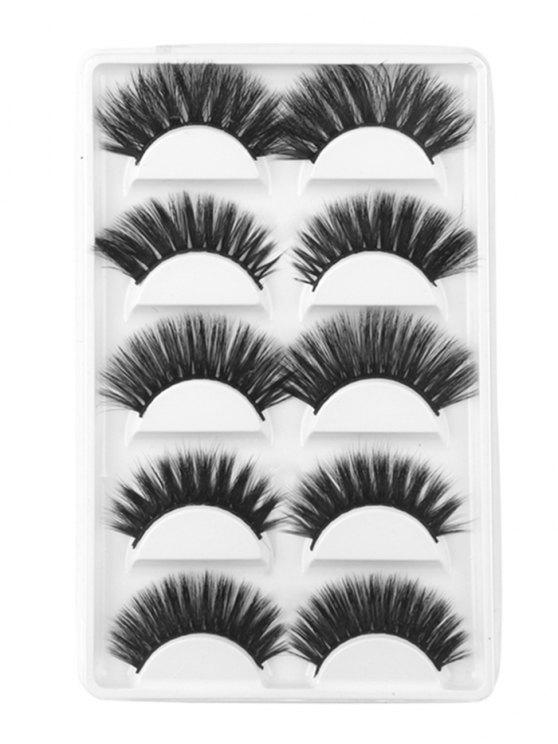 lady 5Pcs Combo Different Mix Natural Curling Handmade False Eyelashes - BLACK