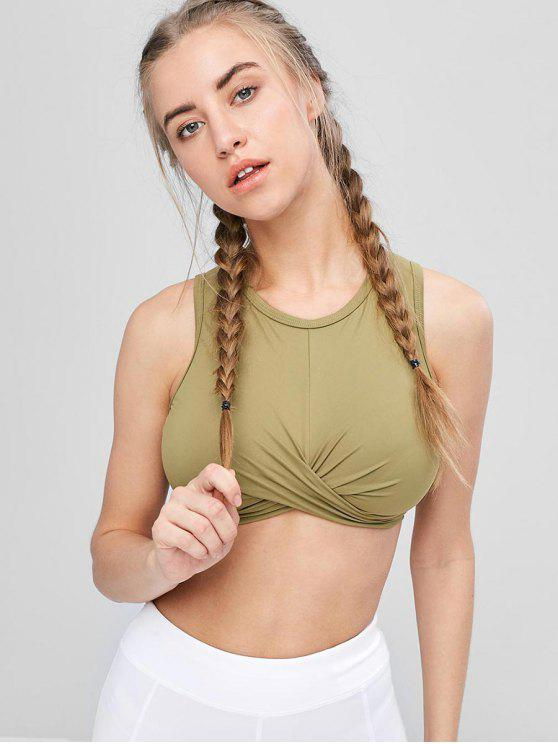 new Tie Back High Neck Wrap Sports Bra - ARMY GREEN S