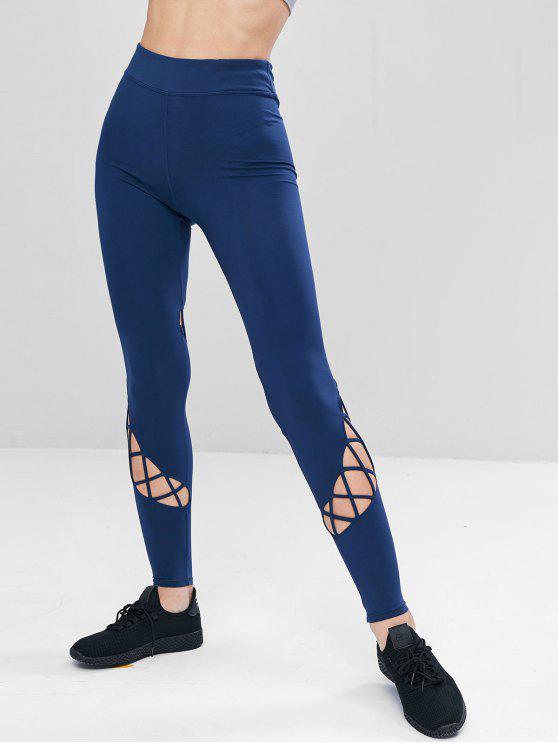Leggings Sportivi Con Lacci A Vita Alta - Cadetblue L