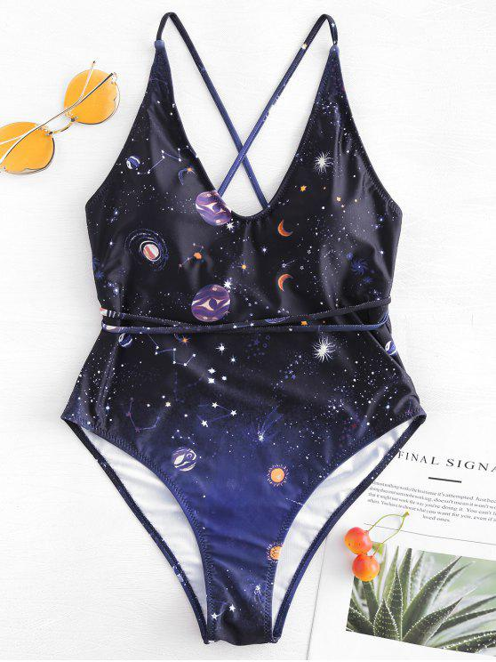 Costume Da Bagno Stampato Galassia A Taglio Alto Con Spalline Incrociate - Nero L