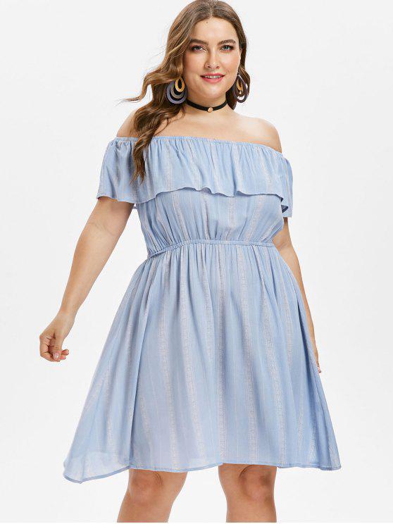 Volant Übergroße Schulterfreies Kleid - Blaugrau 3X