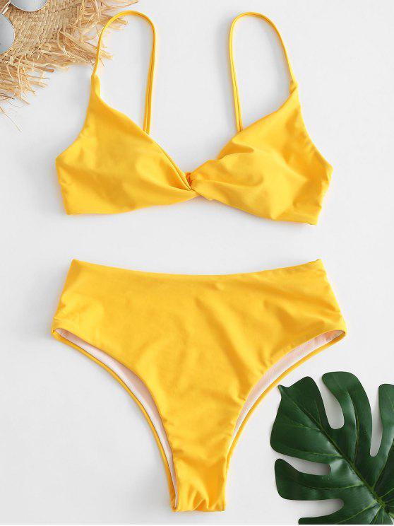 d71621699c4 13% OFF  2019 Twist High Waisted Bikini Set In RUBBER DUCKY YELLOW ...