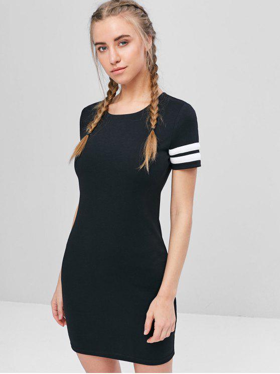 best Contrast Mini Tee Dress - BLACK M
