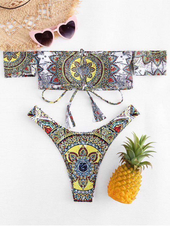 Mandala Print Off Ombro Bikini Set - Multi L