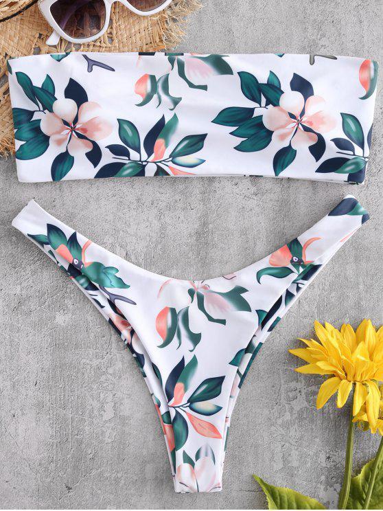 women Plant Print Bandeau Bikini Set - WHITE L