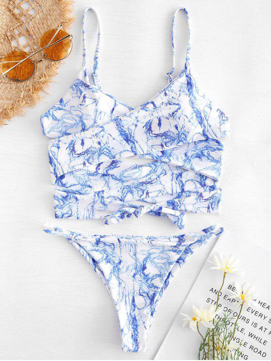 outfit Print Wrap String Bikini - OCEAN BLUE M