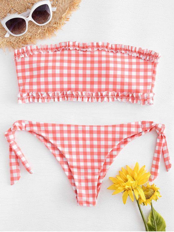 outfits Tie Side Gingham Bandeau Bikini - MISTY ROSE L