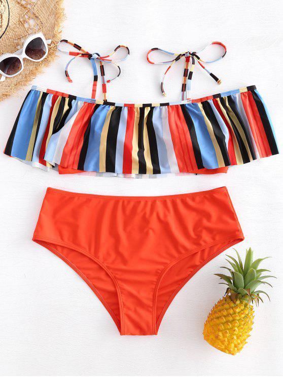buy Tie Shoulder Plus Size Striped Flounce Bikini - MULTI 1X