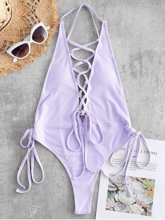 ladies Lace-up Ribbed Thong Swimsuit - LAVENDER BLUE L