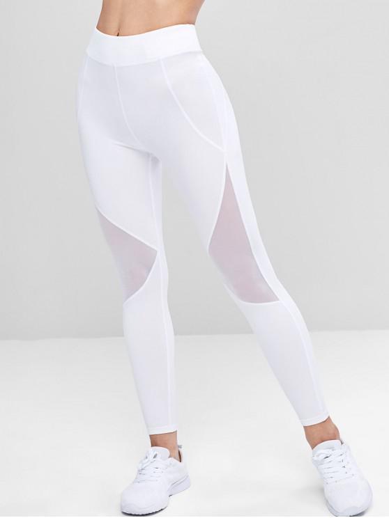 fancy Mesh Panel Sporty Leggings - WHITE M