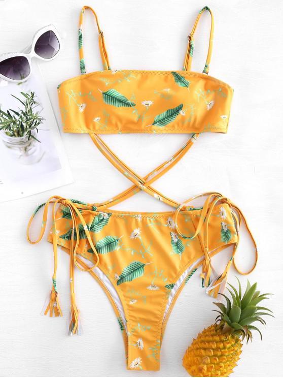 Costume Da Bagno A Fascia Annodato Con Stampa Foglie - Senape L