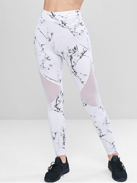 f07e7dd154 29% OFF] 2019 Marble Print Mesh Panel Leggings In WHITE   ZAFUL