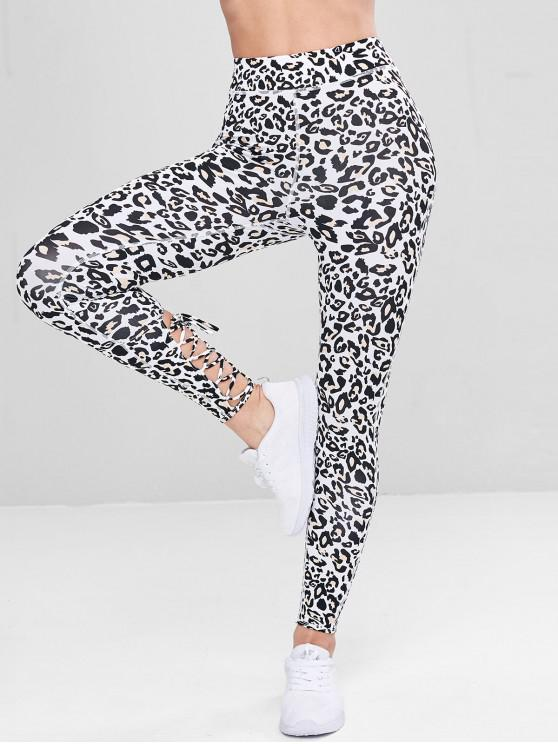 shop Lace-up Leopard Sports Leggings - LEOPARD M