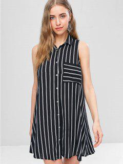 Striped Sleeveless Mini Shirt Dress - Black M