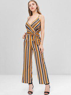Crossover Striped Cami Wide Leg Jumpsuit - Multi L