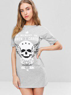Longline Skull Graphic Tee Dress - Light Gray L