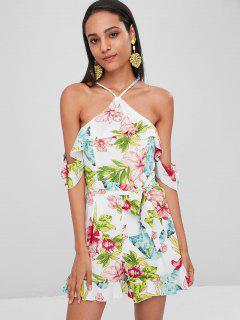 Floral Print Cami Belted Romper - Multi L