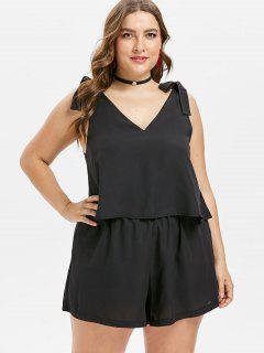 Plus Size Overlay Backless Knot Romper - Black 1x