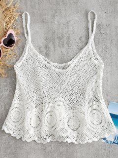 Haut Camisole Festonné Et En Crochet  - Blanc