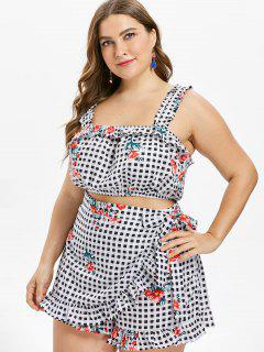 Plus Size Checked Floral Crop Top - Multi 3x