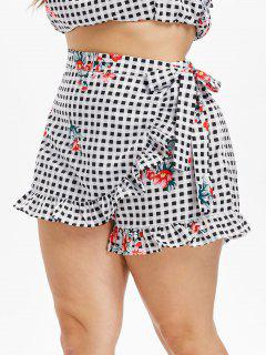 Plus Size Checked Floral Overlap Shorts - Multi 1x