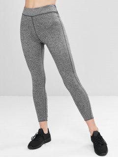 Heathered Lace-up Sports Leggings - Dark Gray L