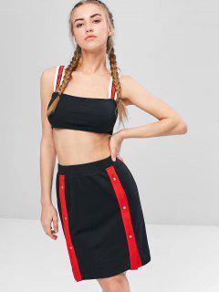 Contrast Cami Crop Top And Skirt Set - Black M