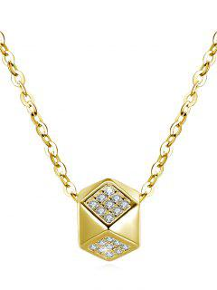 Shiny Rhinestone Rhombus Pendant Necklace - Gold