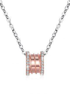 Rhinestone Inlaid Rose Gold Silver Pendant Necklace - Rose Gold