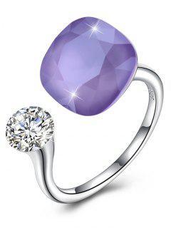 Vintage Crystal Rhinestone Silver Cuff Ring - Lovely Purple
