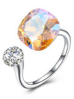 Vintage Crystal Rhinestone Silver Cuff Ring - Gold