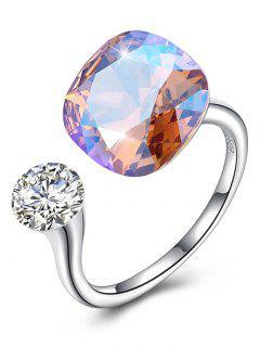 Vintage Crystal Rhinestone Silver Cuff Ring - Silver