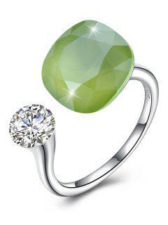 Vintage Crystal Rhinestone Silver Cuff Ring - Chartreuse