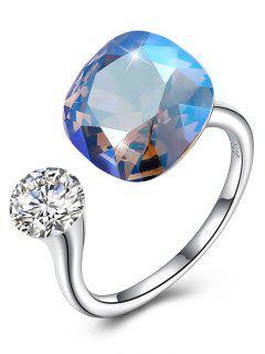 Vintage Crystal Rhinestone Silver Cuff Ring - Butterfly Blue