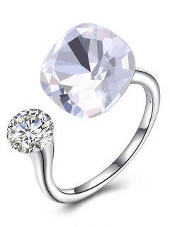 Vintage Crystal Rhinestone Silver Cuff Ring - White
